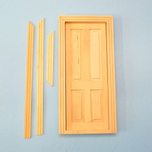 Unfinished four panels wood door  for 1:12 Dollhouse miniature