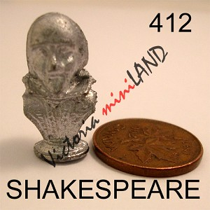"SHAKESPEARE BUST statue 1""H DIY metal miniature for dollhouse - Do it yourself"