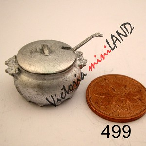 "SOUP TUREEN SET 1/2""H unfinished DIY metal miniature for dollhouse - Do it yourself"