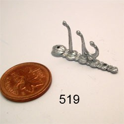 "3-HOOK COAT HOOK 1-1/4""L unfinished DIY metal miniature for dollhouse - Do it yourself"