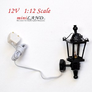 Clearance sale  - Dollhouse Miniature Black Carriage Lamp Sconce lamp 1:12 Scale 12v