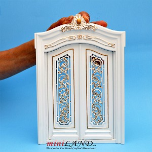 White  Carved Double Door 1:12 scale quality dollhouse miniature