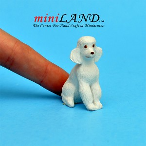 Sitting white poodle. dog for Dollhouse miniature 1:12 scale