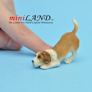 Playful Jack Russell dog for Dollhouse miniature 1:12 scale
