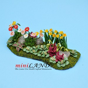 Beautiful Flower Bed Hand carfted Lg for dollhouse miniature 1:12 scale