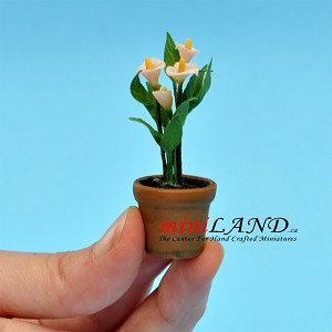 Calla Lily in pot for dollhouse miniature 1:12 scale