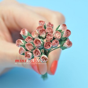 Two dozen Half Bloom Roses Coral for dollhouse miniatures 1:12 scale