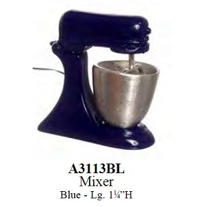 Blue Lg metal mixer for dollhouse miniature 1:12 scale