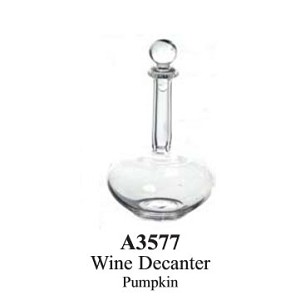 "Wine Decanter Pumpkin Clear glass dollhouse miniature 1:12 scale 1.1"" tall"