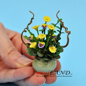 Yellow Mum In Green Pot for dollhouse miniature 1:12 scale