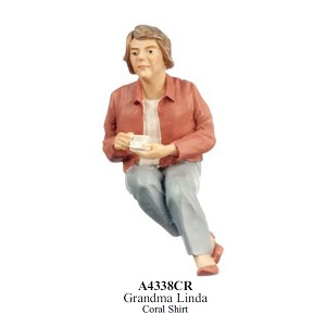 Resin Doll for 1:12 Dollhouses Grandma Linda Coral Shirt