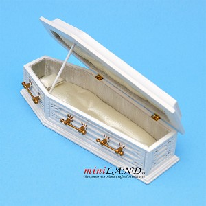 White Coffin wood top Dollhouse miniature 1:12 scale fit Heidi Ott dolls funeral