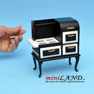 Vintage wooden stove with ovens  dollhouse miniature