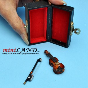 Wooden violin with bow and case for kids dollhouse miniature 1:12