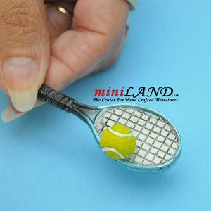 Tennis racket with tennis ball 2 piece set dollhouse miniature