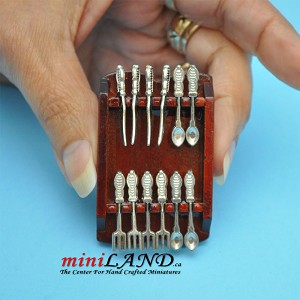 Wooden cutlery holder with silver cutlery set Dollhouse miniature 1:121