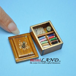 Walnut wood sewing kit with thread  dollhouse miniature