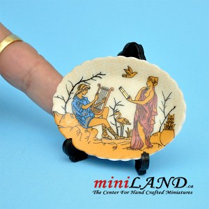 Beautiful ancient mythical decorative plate with stand dollhouse miniature 1:6