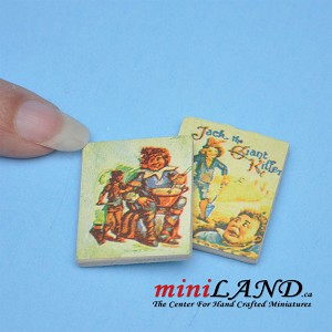 2 piece set of children covers books dollhouse miniature 1:12