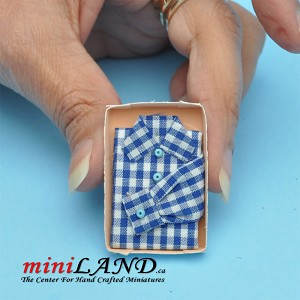 Checkered dress shirt in box dollhouse miniature 1:12