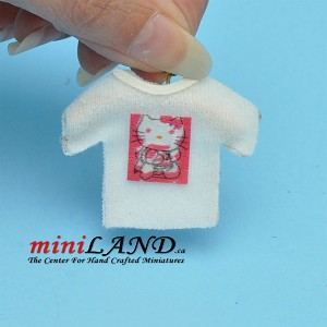 Happy kitty white t-shirt dollhouse miniature 1:12