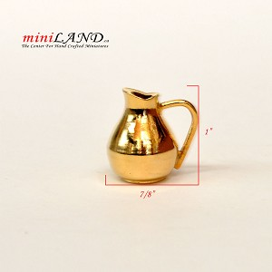 Brass 1:12 scale heavy metal pitcher for dollhouse miniatures