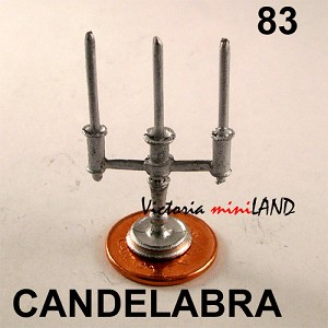 "3-LT. CANDELABRA 1-1/2""H unfinished DIY metal miniature for dollhouse - Do it yourself"