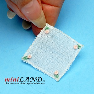 Square grandmother's cloth napkin dollhouse miniature 1:12