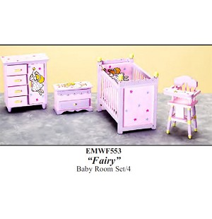 Economy FAIRY BABY ROOM SET 4pcs emwf553 1:12 scale dollhouses miniature