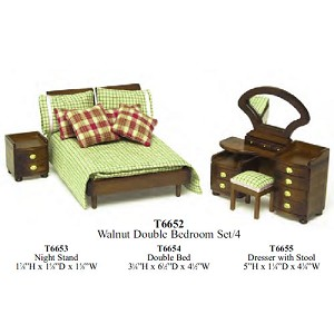 Economy Set 5 piece Bedroom Suite  1:12 scale dollhouses miniature art deco
