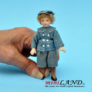 "Curly blonde child in blue outfit with hat (bendable at waste) Porcelain doll  4""H"