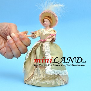 "VICTORIAN LADY with hat PORCELAIN DOLL 5.75""H"