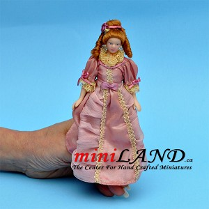 "VICTORIAN LADY in pink dress  PORCELAIN DOLL 5.75""H red hair"