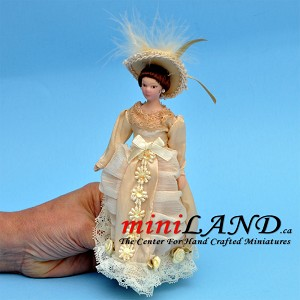 "VICTORIAN LADY in ivory dress with hat PORCELAIN DOLL 5.75""H"
