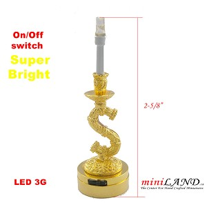 Brass decorated Candlestick lamp light battery operated on-off switch for 1:12 dollhouse miniature