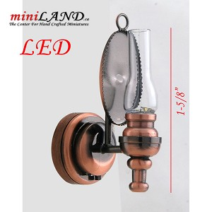 Copper clear wall sconce oil lamp LED Super bright with On/off switch for dollhouse miniature 1:12 scale
