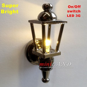 Black Carriage Lamp Sconce Super bright with On/off switch for 1:12 dollhouse miniature