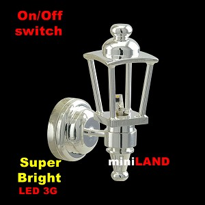 LED shinning SILVER Carriage Lamp light  LED Super bright with On/off switch 1:12 scale