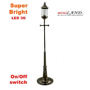 "8"" gas street garden lamp light LED Super bright with On/off switch  for dollhouse miniature 1:12 scale"