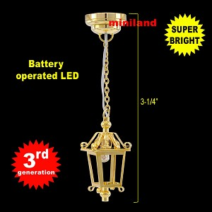 Brass Lantern hanging lamp LED Super bright with On/off switch for 1:12 dollhouse miniature
