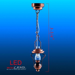 Hanging antique Copper oil lamp LED Super bright with On/off switch for dollhouse miniature 1:12 scale