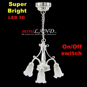 SILVER LED 3-Arm Down Tulip Chandelier light  LED Super bright with On/off switch 1:12 dollhouse miniature