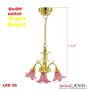 Brass LED 3-Arm Down Tulip Chandelier light  LED Super bright with On/off switch Pink