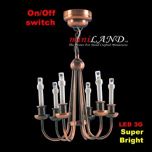 Copper Colonial 6 Arm chandelier  LED Super bright with On/off switch for dollhouse miniature 1:12 scale