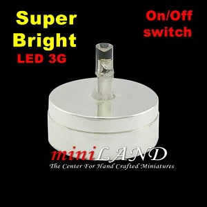 DIY SILVER light  lamp LED Super bright with On/off switch dollhouse miniature 1:12 scale