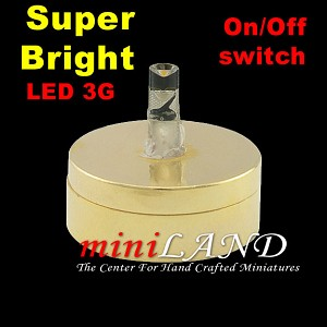 DIY BRASS light  lamp LED Super bright with On/off switch 1:12 dollhouse miniature