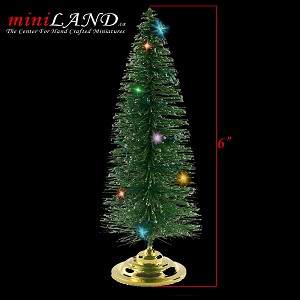 "Christmas tree with changing LED color lights 1:12 scale dollhouse miniature 6""H"