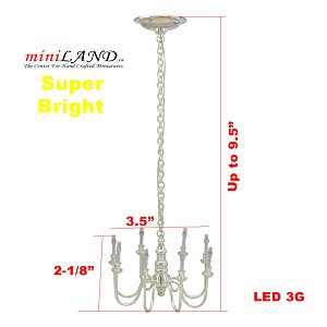Playscale SILVER  8 arms chandelier 1:6 Barbie scale battery operated LED  light lamp for dollhouse miniature