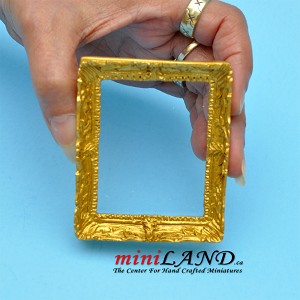 Rectangle golden frame with glass  dollhouse miniature 1:12