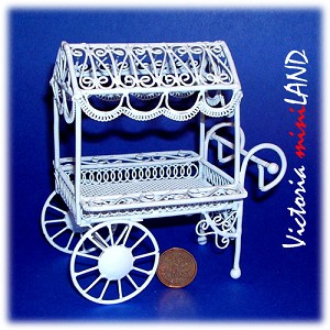 Wire small Flower Cart HBW1393-4 for 1:12 dollhouse miniature